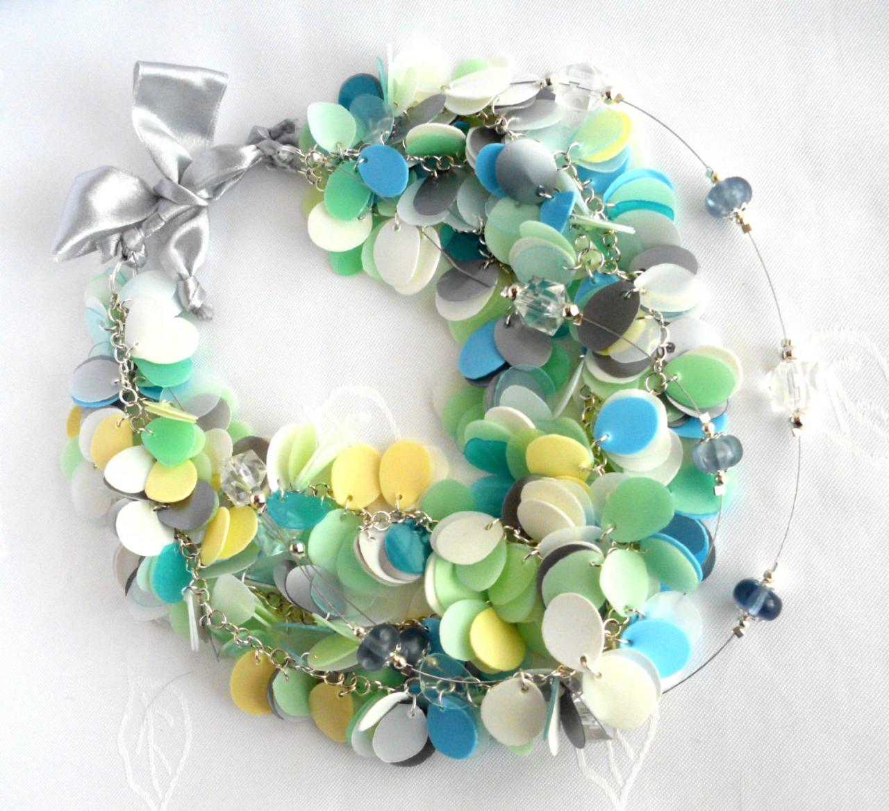 Blue Green White Pastel Statement Necklace Made Of